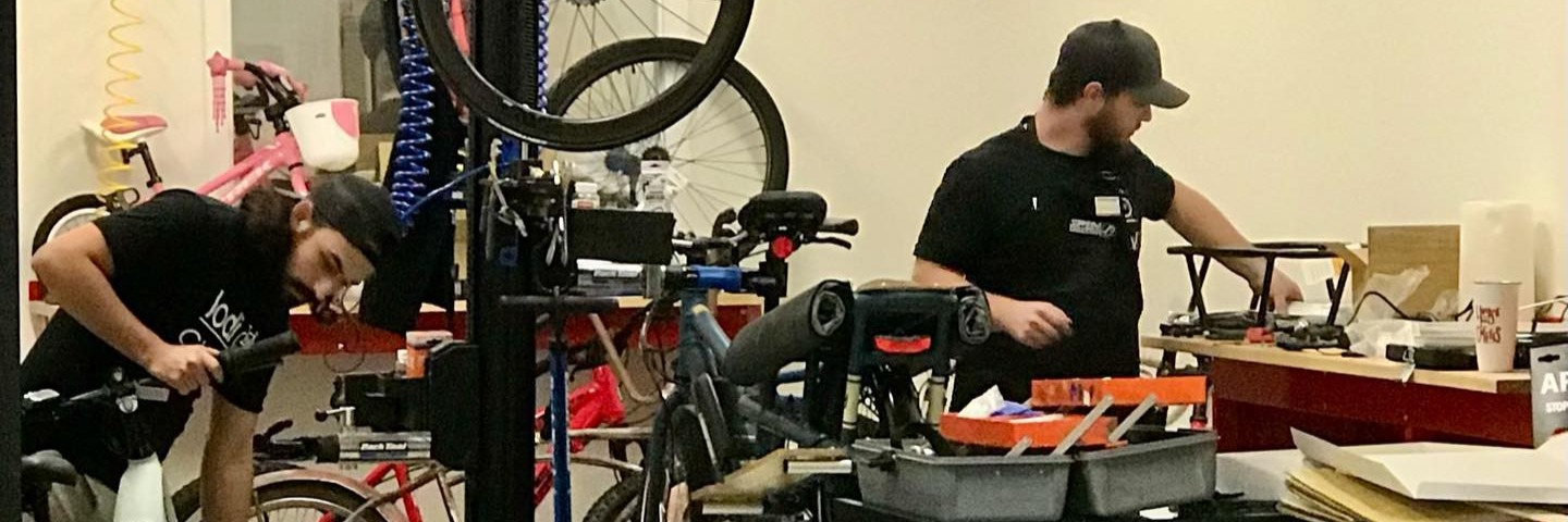 Bike Technicians working on bicycles