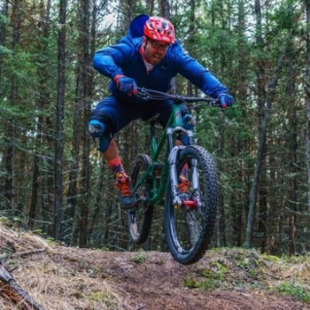 Jeff Blanken riding a full suspension mountain bike
