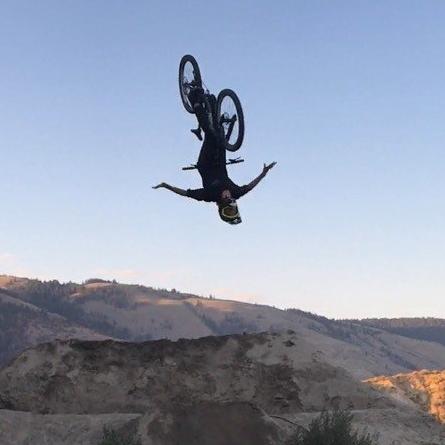 Brett Riel in air on mountain bike
