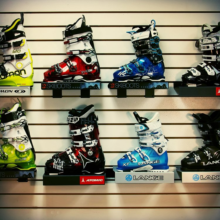 Ski boots on display