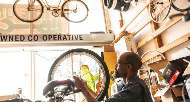 Rider getting a bike fit