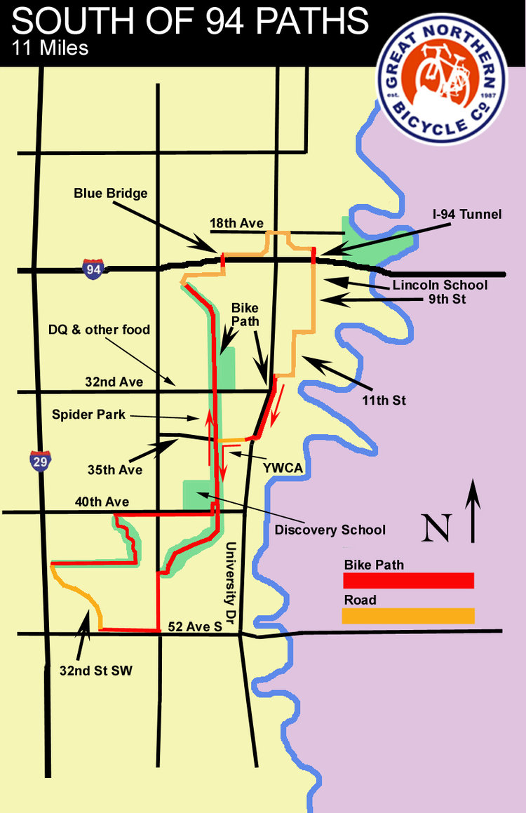 South of 94 paths map