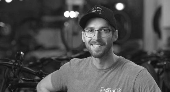 Bike mechanic in store