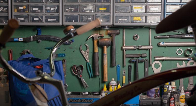 Bike in repair stand