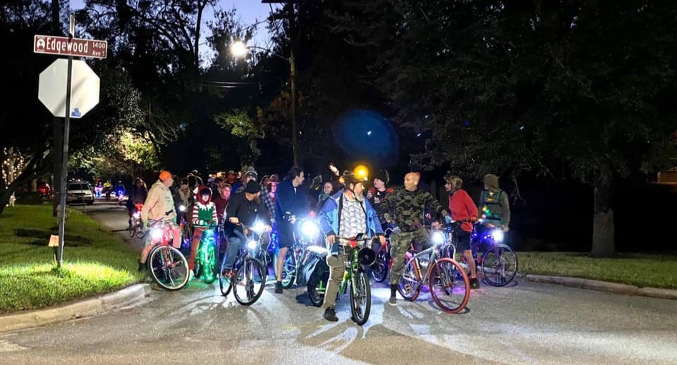 Group of cyclist on a night ride