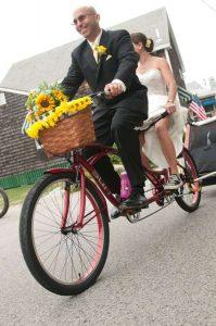 Dave Harkless on a tandem bike
