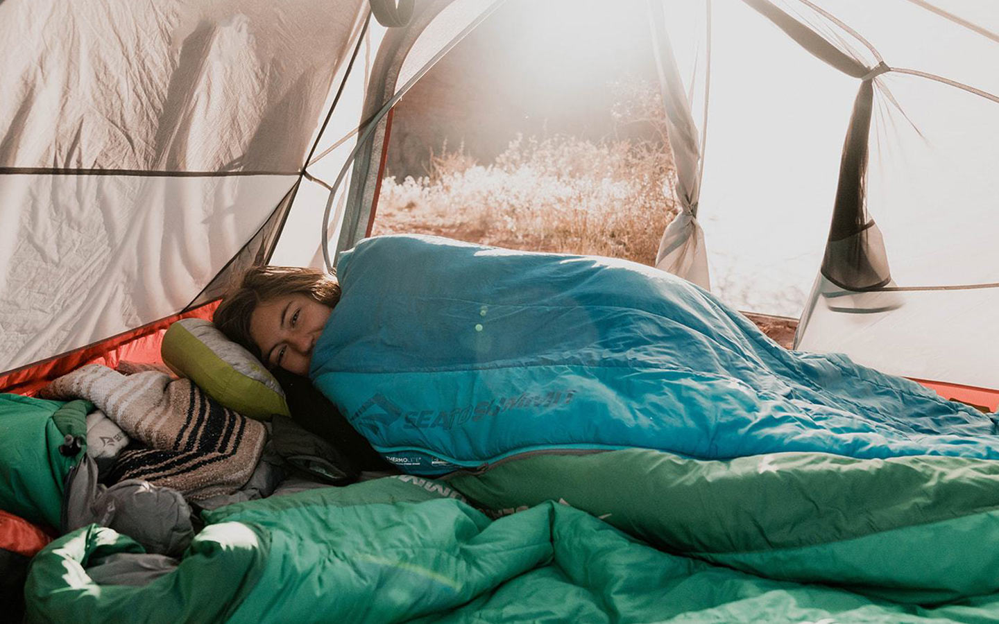 Person in a tent