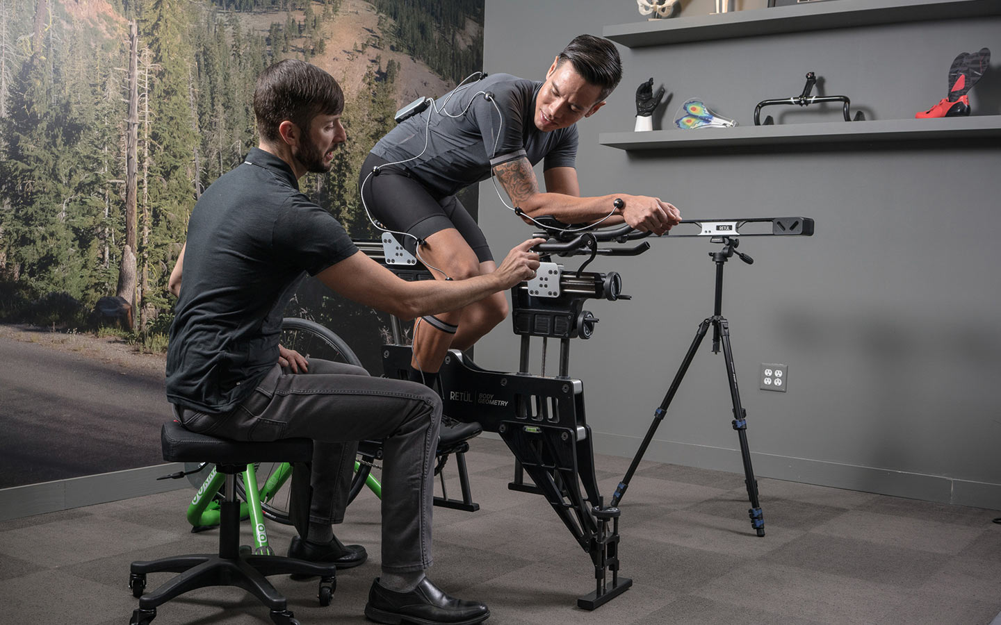 Person getting a bike fit