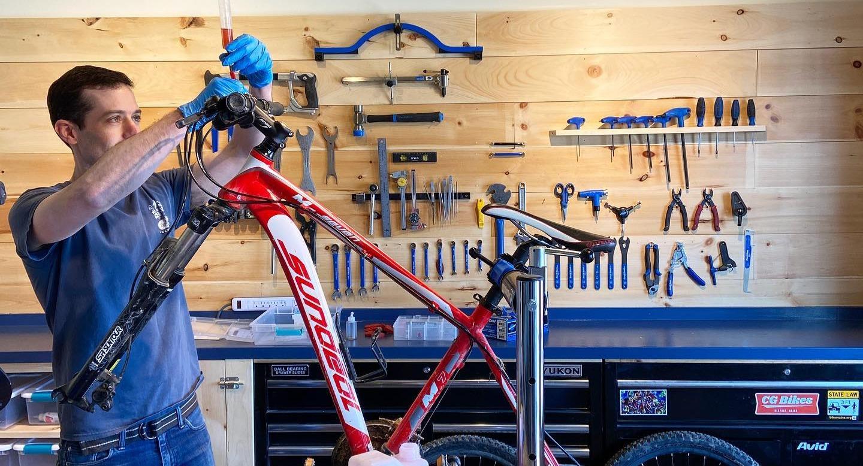 Bike Technician working on a bike