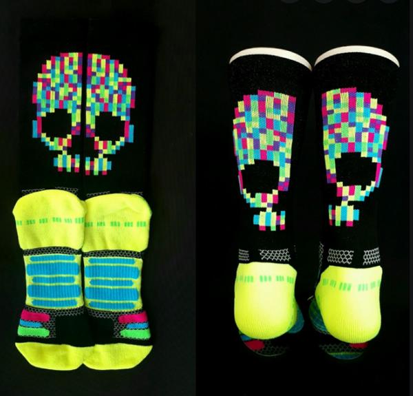 Bikeland H2D Pro Sock Neon Skull Large