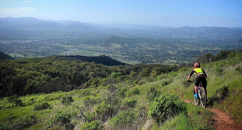Mountain biker riding in Napa, CA