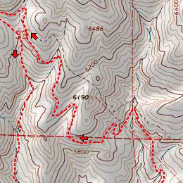 Trail map of Cow Canyon Loop