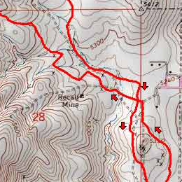 Trail map of Evans Canyon Loop