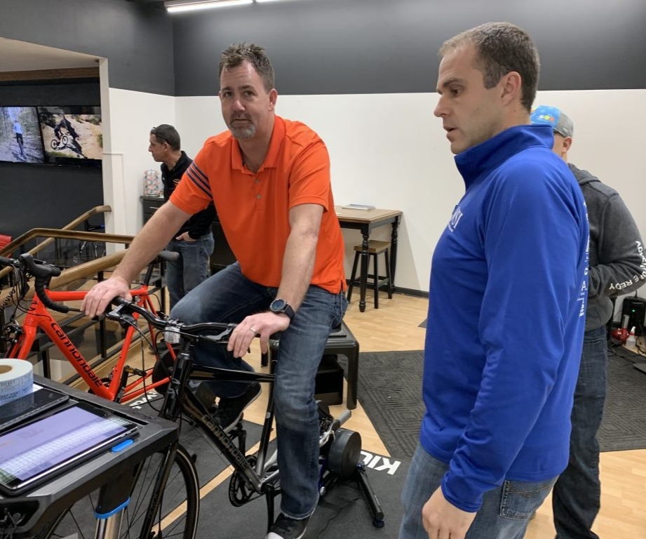 Cyclist on an indoor trainer