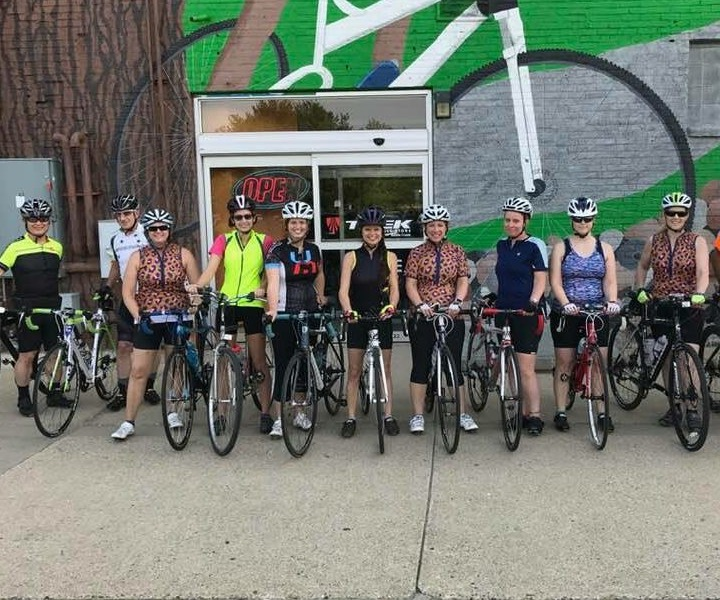 cyclists in front of Mike's Team Active Bikes