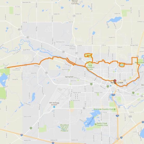 map of Battle Creek Linear Park trail