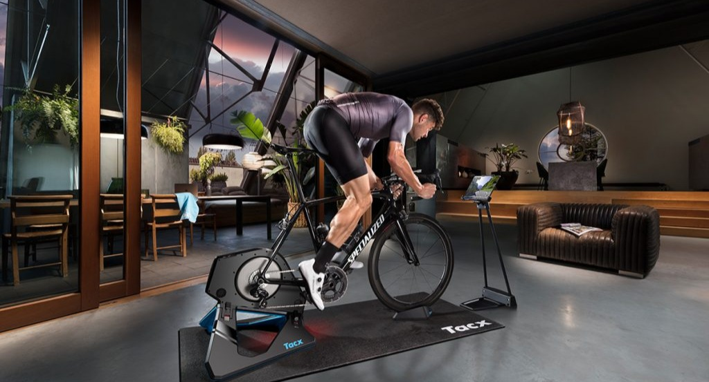cyclist on a tacx trainer