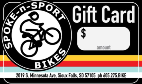 Spoke-N-Sport Gift Card $10 - $499
