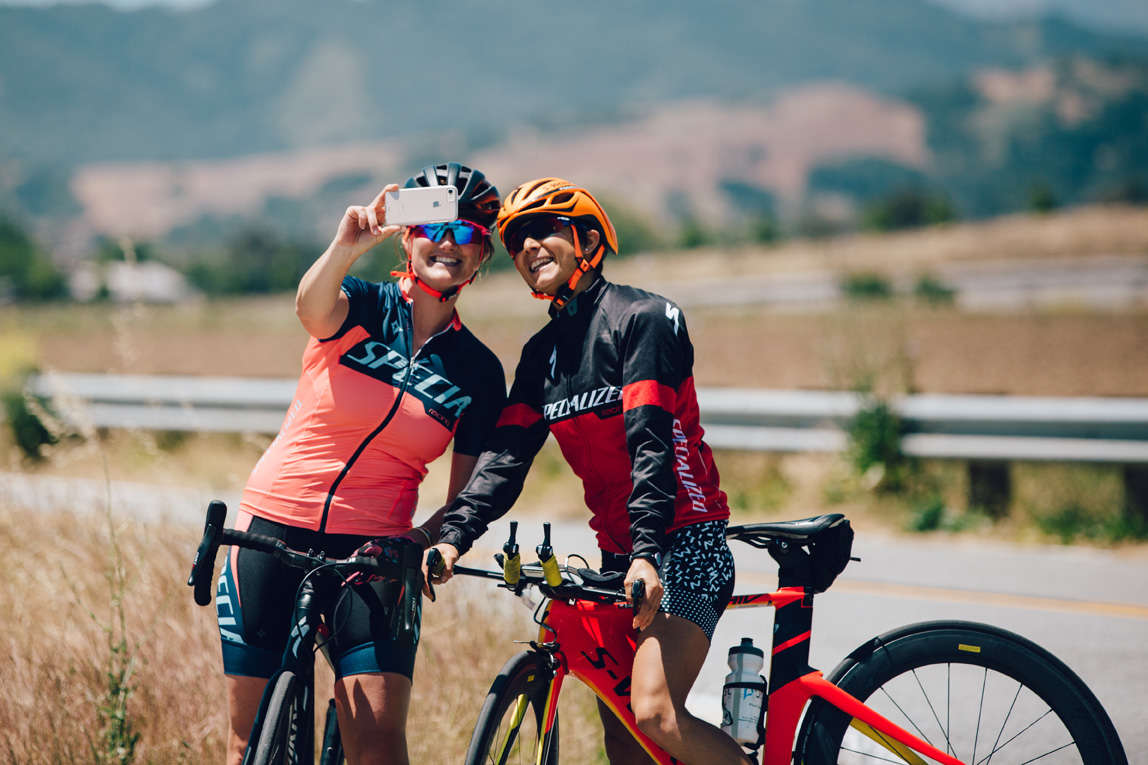 A couple of riders taking a selfie