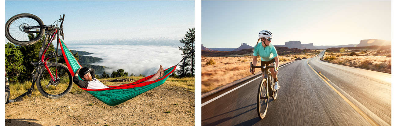 A mountain biker taking a break in a hammock & a woman riding a road bike