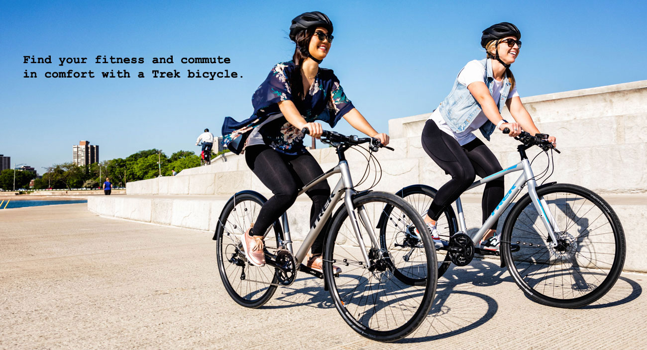 Fast and fun, Trek hybrid bicycles are perfect for fitness and commuting.