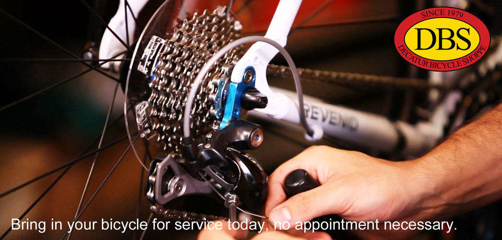 Bring in your bicycle for service today, no appointment necessary