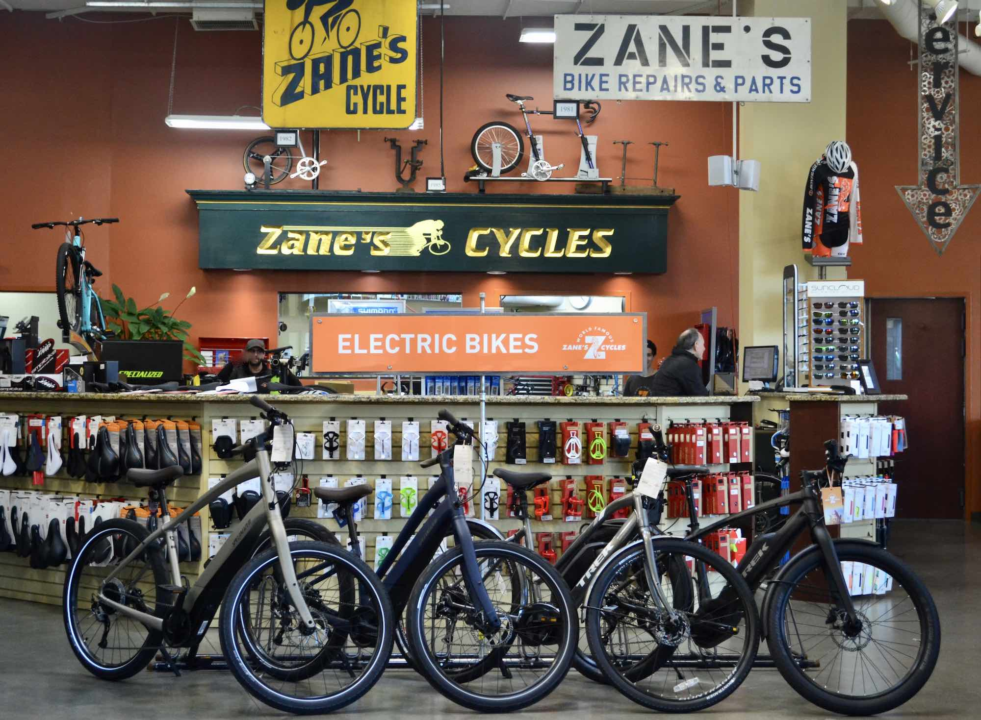 Zane's Cycles Service Center and Electric Bike Selection