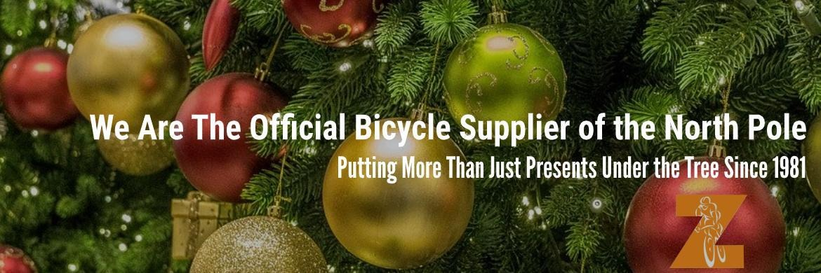 Zane's Cycles Holiday Tree Official Supplier of the North Pole