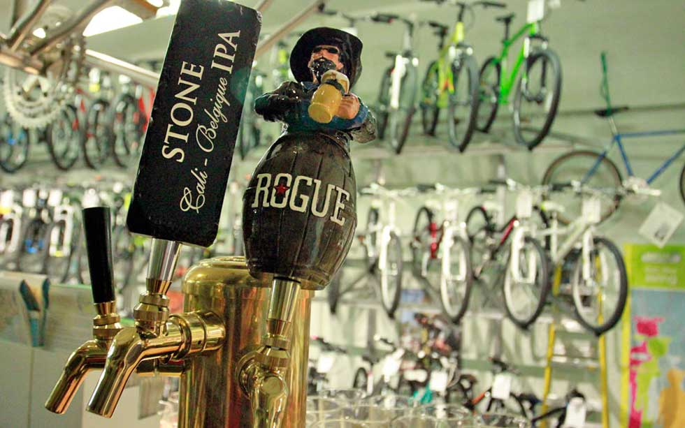 Beer on tap at Sharp Bicycle