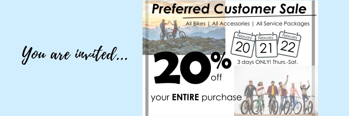 Enjoy 20% off on ALL bikes, ALL accessories, ALL service packages at The Bicycle Store in Hermitage