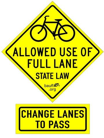 BAUFL.org Bicycles Allowed Use of Full Lane Sticker Set