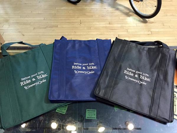"Century Cycles ""Define your life. Ride a bike. (tm)"" Re-Usable Grocery Bag"