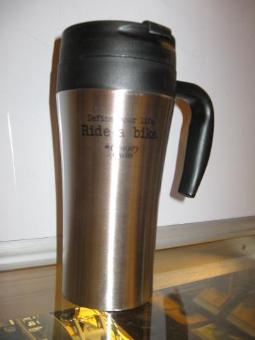 "Century Cycles ""Define your life. Ride a bike."" Travel Coffee Mug"