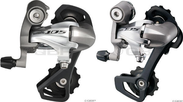 Shimano 105 rear derailers with short cage (left) and medium cage (right)