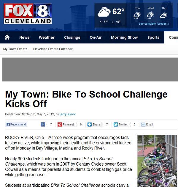 Fox 8 Cleveland: My Town: Bike To School Challenge Kicks Off