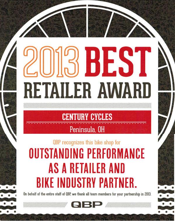 QBP Best Retailer Award 2013