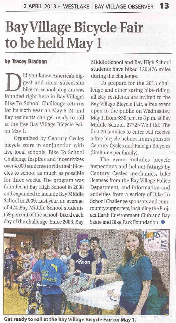 Scan of April 2, 2013 Westlake Bay Village Observer article