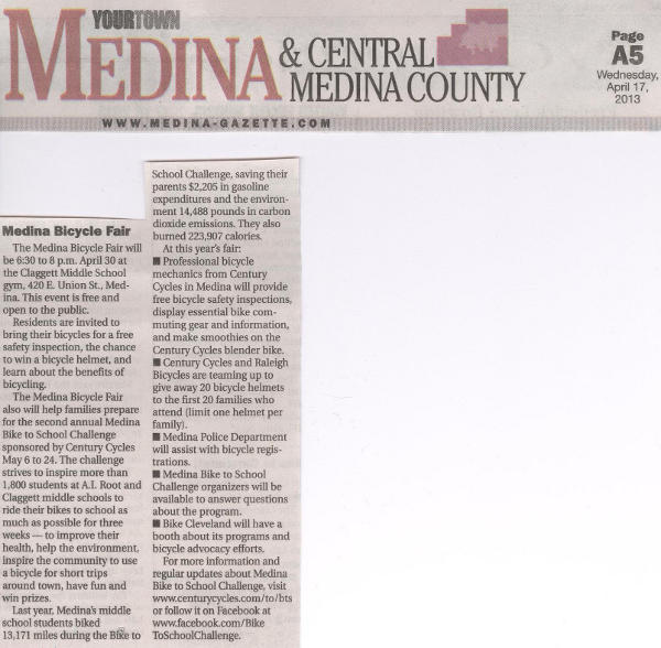 Medina Bicycle Fair article from the April 17, 2013 Medina Gazette