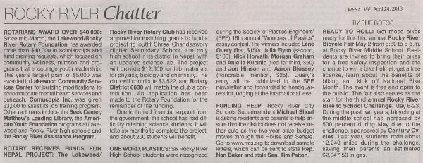 West Life / Rocky River Chatter article from April 24, 2013