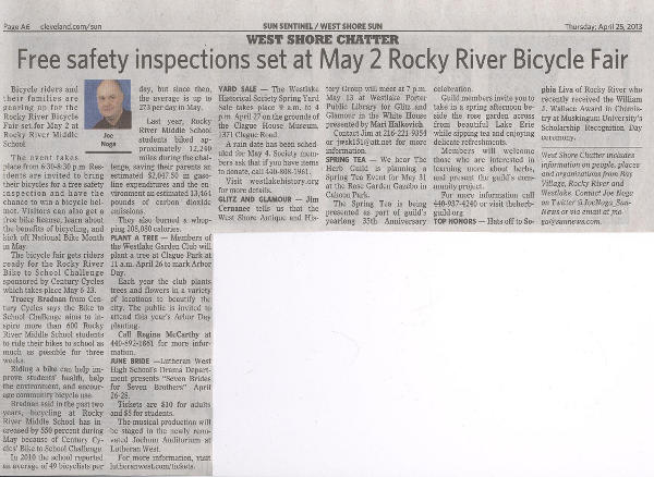 Scan of April 25, 2013 West Shore Sun article