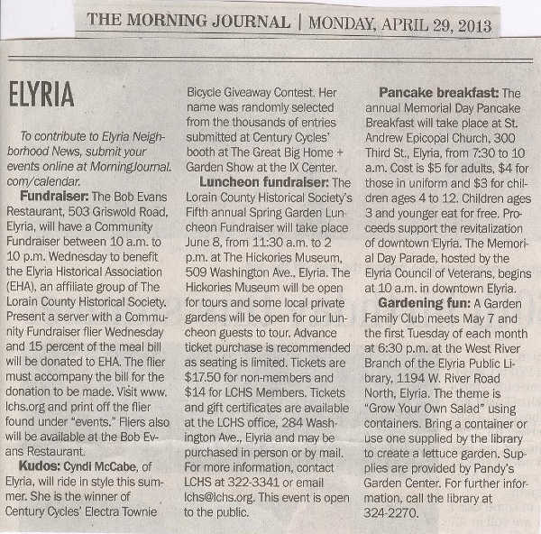 Scan of April 29, 2013 article from The Morning Journal