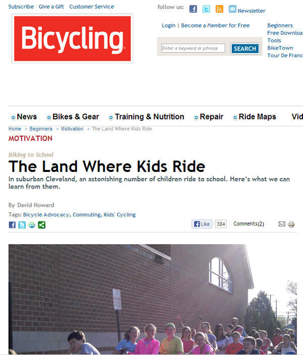 Screen shot of May 2013 Bicycling Magazine article