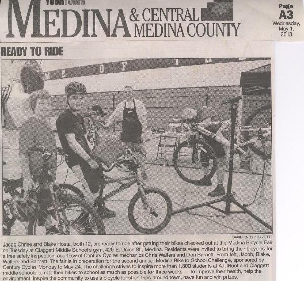 Scan of May 1, 2013 Medina Gazette article