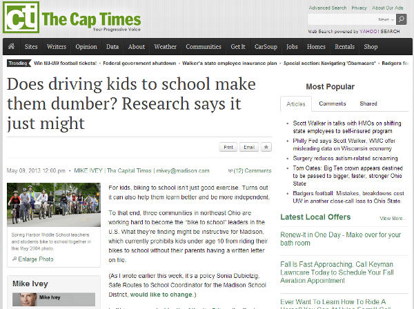 Screen shot of May 9, 2013 The Capital Times article