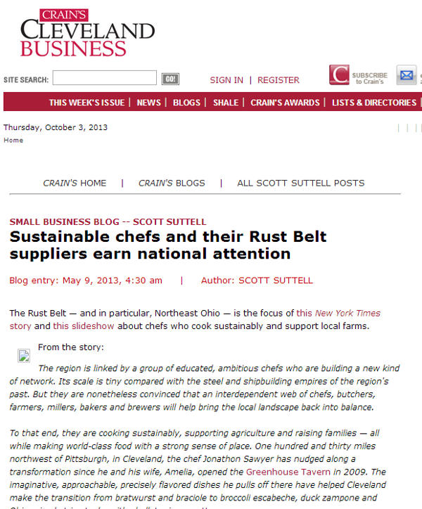 Screen shot of May 9, 2013 Crain's Cleveland Business article