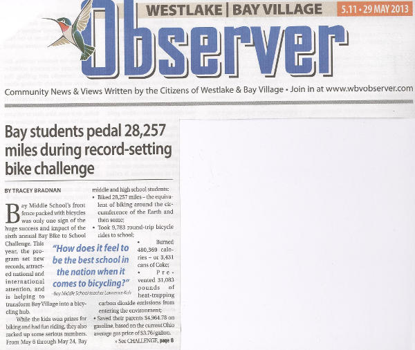 Scan of May 29, 2013 Westlake Bay Village Observer article (part 1)