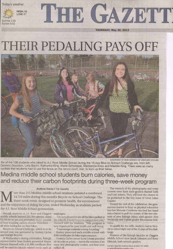 Scan of May 30, 2013 Medina Gazette article
