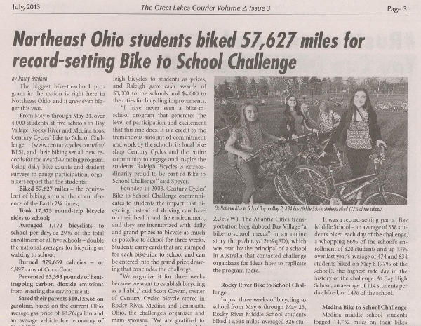 Scan of July 2013 Great Lakes Courier article