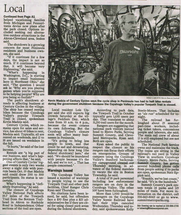 Scan of Oct. 4, 2013 Akron Beacon Journal article, page 2