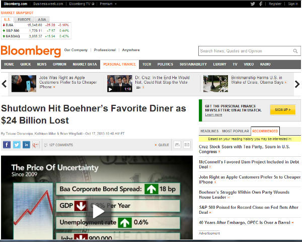 Screen shot of Oct. 17, 2013 Bloomberg article